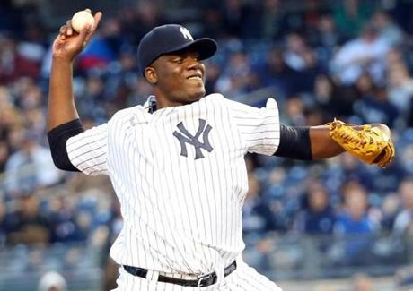 The Yankees' Michael Pineda had a firm grip all game — he said he used dirt to get a better grip on the ball — striking out seven in six innings.